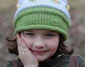 Boutique Embroidered Flowers Bonnet Girl Curly Q Pom Pom Topper Lime, Lemon and White Child Hat Toque Photo Prop