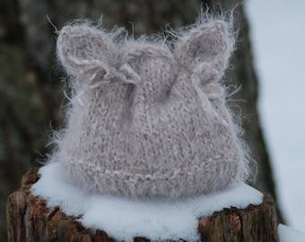 Baby Hat Soft Warm Kitten Hand Knit Hat Newborn Baby Photo Prop Taupe Infant Kitty Hat