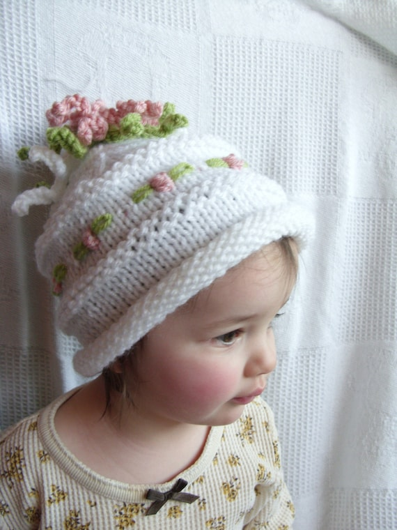 Boutique Spring Flowers Embroidered Child Knit Hat