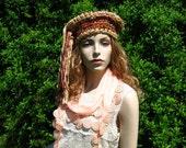 Silk Sari ribbon Crocheted Hat