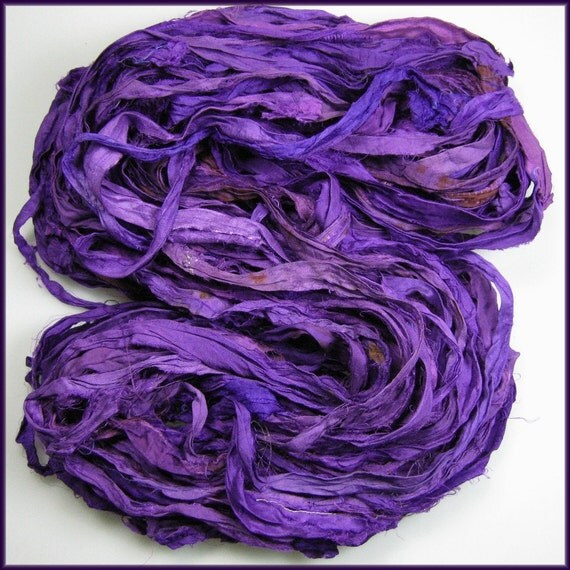 WH Silk Sari ribbon Called Royal Court Purple  HUGE SKEIN