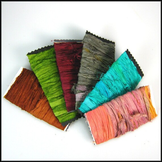 Silk Sari Ribbon Variety of colors Rustic
