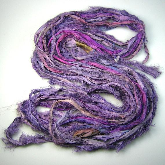 Silk sari ribbon called Fallen Petals of violet