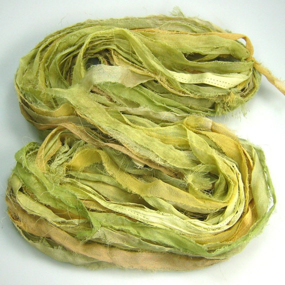 Cotton Sari Ribbon called light Olive Sage