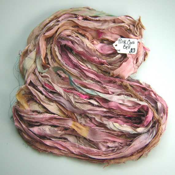 Silk Sari Ribbon called Pink Cora Bell