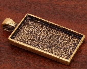 10 pcs 21X33mm Great rectangle antique bronze Pewter bezel blank Pendant Tray