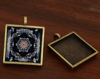 40pcs 25mm antique bronze square Pewter blank Pendant Tray bezel