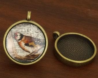 40pcs 25mm antique bronze round Pewter blank Pendant Tray bezel