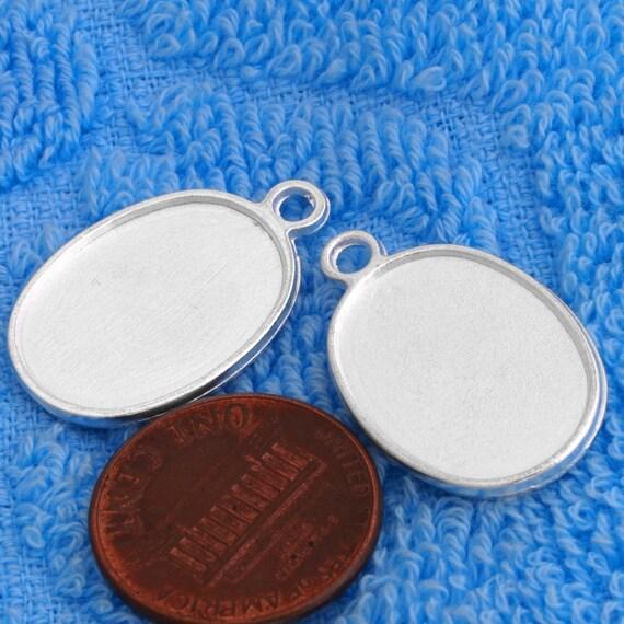 100 pcs 19X25mm two side Great ellipse silver tone bezel blank Pendant Tray