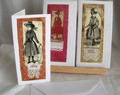 Christmas Cards. Pack of Three. Antique Lace