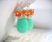 Aqua Chalcedony Orange Carnelian Sterling Silver Cascade Earrings