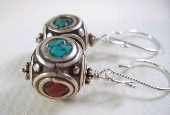 Earrings Turquoise Coral Tibetan Beads Sterling Silver Earrings
