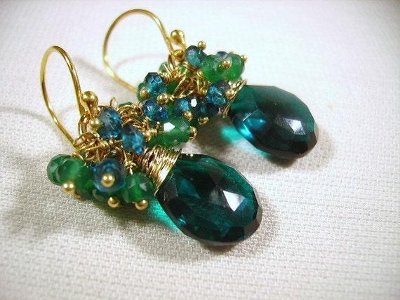 London Blue Topaz, Green Onyx , Teal Quartz, Vermeil, Gemstone Cluster Earrings