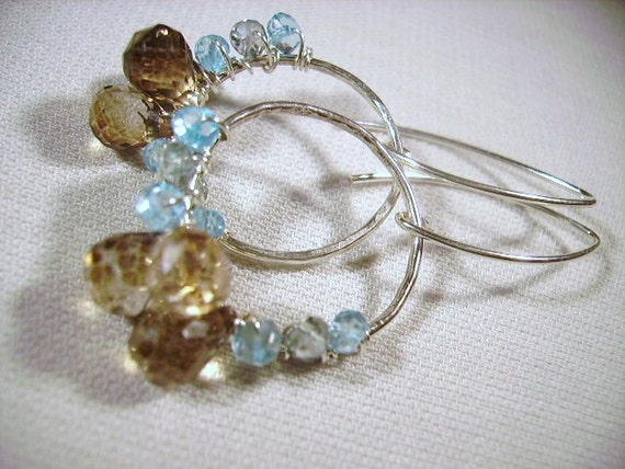 Hoop Earrings Sky Blue Topaz, Mystic Teal Quartz, Mink Quartz and Sterling SilverUse Coupon Code 20OFF at check out