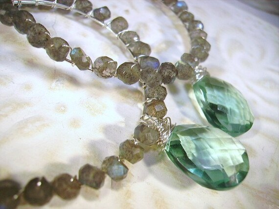 wire wrapped hoop earrings, flashy labradorite, green quartz, sterling silver