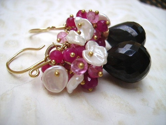 25% off use coupon code DEC25 at check out!! Red Ruby's, Pink Topaz, Keishi Pearls 14k gold filled and Vermeil Cluster Earrings