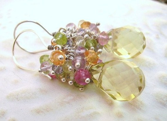 Earrings lemon,briolette, pink topaz, peridot, orange, tanzanite and lavender quartz ,sterling silver Use Coupon Code 20OFF