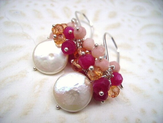 Coin Pearls, Red Ruby's, Pink Opal, Orange Quartz, Sterling Silver Cluster Earrings