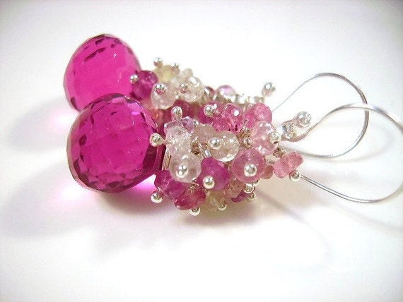 Hot Pink Quartz Faceted Briolettes and Pink Umbra Sapphires EarringsUse Coupon Code 20OFF at check out