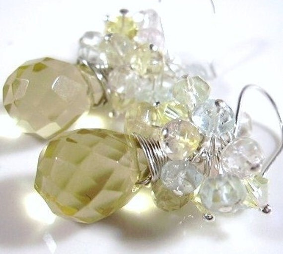 """SALE - 35% off Use Coupon Code """"summer35"""" at Check Out.Quartz, Gemstones, Crystals and Sterling Silver Earrings"""