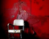 Red walls white Chair - Fine Art Photograph
