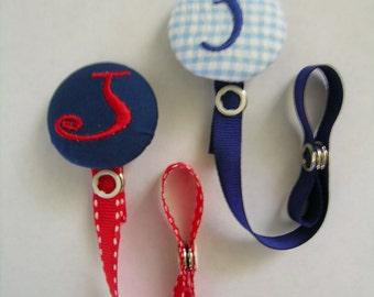 1 Personalized Pacifier Clip Binky Paci Holder Baby Boy U Design Boutique Monogram Name