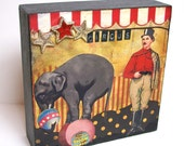 The Circus--5x5 inch Original Mixed Media Collage