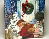 SALE---A Merry Christmas---Original Mixed Media Collage Art