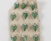 Vintage Set of 12 Painted Green Glass Diminutive Small Buttons with Flowers