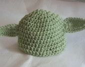 Newborn 0 - 3 months star wars inspired Yoda beanie baby hat baby shower, gift, photo prop