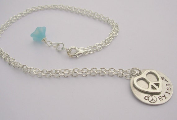 COEXIST Stamped Necklace   FREE SHIPPING