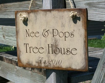 PERSONALIZED TREE HOUSE Primitive Wood Sign 16 X 10