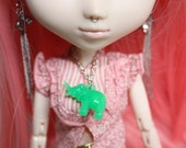 SALE- Green Elephant Necklace for Pullip, Blythe or Dal