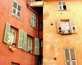 """France photography - salmon orange wall art - mint green - window wood shutters - french architecture print """"Curried Aparments"""""""