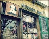 "Paris Photography - Paris in springtime - window reflection - Shakespeare bookstore ""Paris Bookstore"""