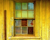 Fine art photography print / window photography print / mustard yellow / yellow photograph / abandoned building / architecture art