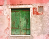 Pink and green photograph - Venice Italy print - travel photography - pink green wall art - old wood window - 'Green Shutters'