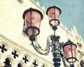 "Venice photography - pale rose pink - glass street lamps - Venice Italy - travel photography - architecture wall art  10x10 ""Pretty in Pink"""