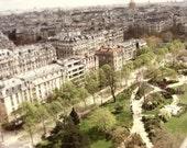 """Paris Photography - Eiffel tower view - Paris rooftops - neutral Paris France wall art  8x10 16x20 print """"Tiny Paris"""""""