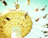 Carnival photography, yellow aqua gold, nursery wall art, kids room decor, whimsical art, carnival ride 'Incurable Bliss'