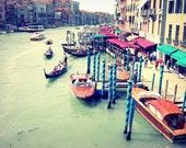 """Venice Italy wall art / travel photography / colorful wall art home decor / jade green red art print / Venice boats  """"Colors of Venice"""""""