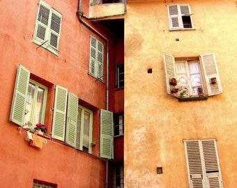 France photography windows wood shutters architecture salmon orange mint green wall art   'Curried Aparments'