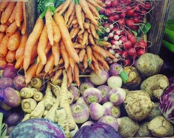 Food Photography colorful kitchen art rainbow wall art farmers market fresh garden vegetables  'Rainbow Market'