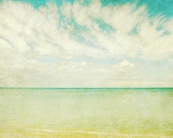 "Beach photography aqua blue pale yellow Hawaii sea shore minimalist wall art ""Watercolor Sky"""