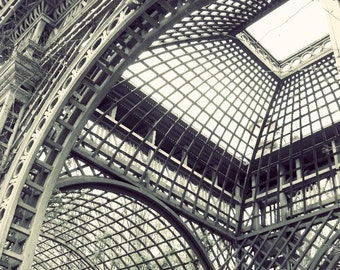 "Black and white photography print - geometric wall art - industrial - architecture - Versailles garden  ""Open to the Sky"""