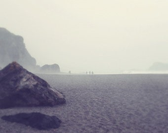 "Gray beach print - ocean seascape - beach photograph - minimal beach art - coastal wall art - charcoal gray art  ""Rock Garden"""