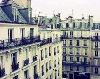 "Paris photography slate blue gray Paris decor french wall art city architecture rooftops wall art ""Montmartre"""
