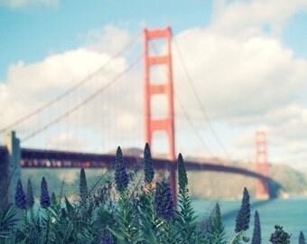 "San Francisco Golden Gate Bridge Clouds Sky Aqua Blue Red Architecture California Travel Wall Art ""The Golden Gate"""