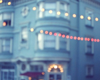 """San Francisco art city lights urban photography sparkly bokeh night dusk print soft perrywinkle blue  """"Lets Go Out"""""""