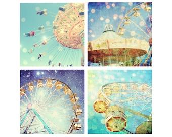 Carnival Photography Set - nursery decor - kids room art - carnival art - yellow aqua teal wall art - four prints